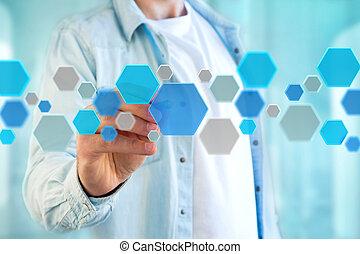 błękitny, robiony, render, hexa, guzik, pokazany, aplication...