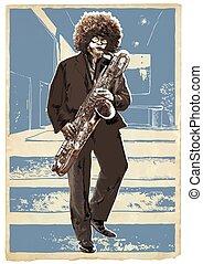 błękitny, room., młody, ręka, narzędzie pracy łupkarza, saxophone., vector., pociągnięty, saksofonista, interpretacja, człowiek