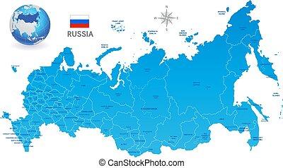 błękitny, rosja, wektor, administracyjny, mapa