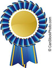 błękitny, rozeta, nagroda, znak