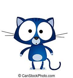 błękitny, rysunek, kot