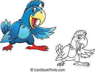 błękitny, rysunek, papuga