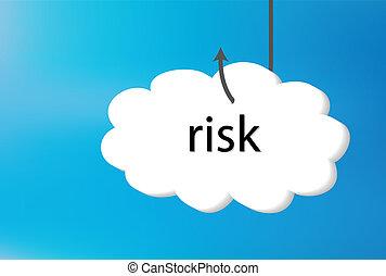 błękitny, ryzyko, tekst, wstecz, chmura, gruntowy