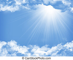 błękitny, słońce, chmury, niebo