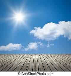 błękitny, słońce, jasne niebo, tło