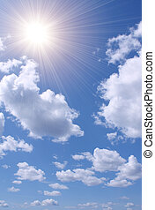 błękitny, słońce, jasne niebo