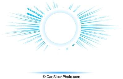 błękitny, słońce, jasny, promienie