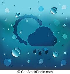 błękitny, słońce, kropla, woda, tło, dużo, chmura, ikona