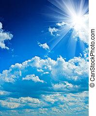 błękitny, słońce, niebo, pochmurny, beautyful