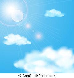 błękitny, słońce, niebo, pochmurny, lustrzany