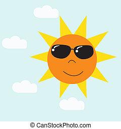 błękitny, słońce, niebo, wektor, rysunek, szczęśliwy
