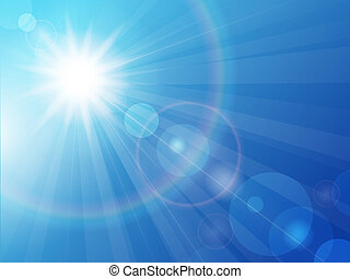 błękitny, słońce, niebo