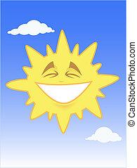błękitny, słońce, uśmiechanie się, niebo
