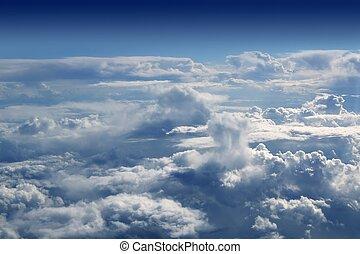 błękitny, samolot, niebo, samolot, prospekt