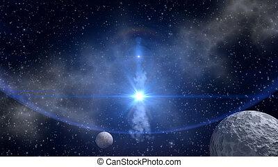 błękitny, sci-fi, tło, gwiazda