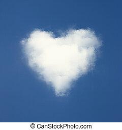 błękitny, serce, chmury, mający kształt, niebo, tło.