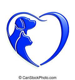 błękitny, serce, graficzny, miłość, pies, kot, 3d
