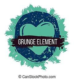 błękitny, serce, grunge