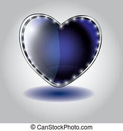 błękitny, serce postało, button., ilustracja, szkło, wektor, valentine`s dzień