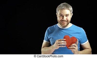 błękitny, serce, związek, romans, miłość, zawiera, forma., jeden, tło., tshirt, video, 4k, jednorazowy, czarnoskóry, concepts., człowiek, datując, czerwony, szczęśliwy
