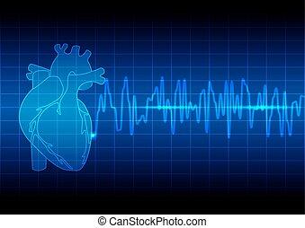 błękitny, sercowy rytm, ekg, ilustracja, wektor, tło, ...