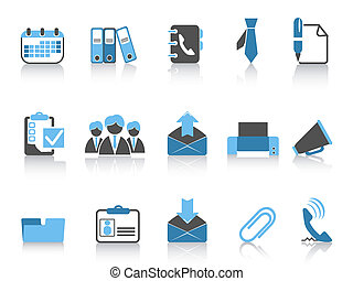 błękitny, seria, handlowe biuro, ikony
