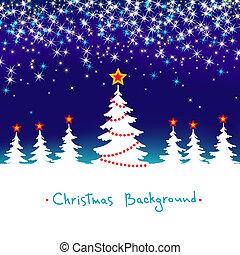 błękitny, sezonowy, zima, abstrakcyjny, drzewo, tło, wektor, las, gwiazdy, białe boże narodzenie
