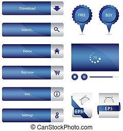 błękitny, sieć, elementy, szczególny, zbiór