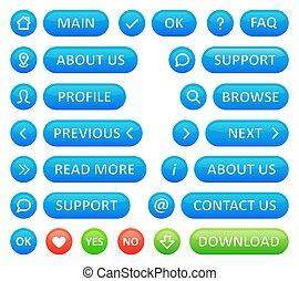 błękitny, sieć, komplet, ikony, kolor, pikolak, tło., wektor, blog., modeluje, biały, okrągły
