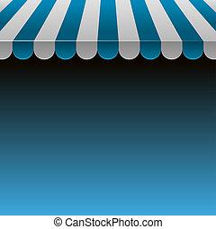 błękitny, sklep, text.vector, przestrzeń, pas, markiza,...
