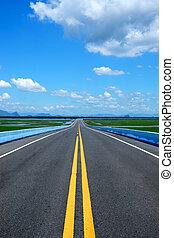 błękitny, sky., kwestia, żółty, handel, droga, opróżniać