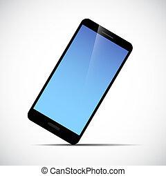 błękitny, smartphone, ruchomy, ekran, telefon, czarnoskóry