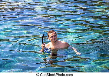błękitny, snorkeling, młody, morze, człowiek