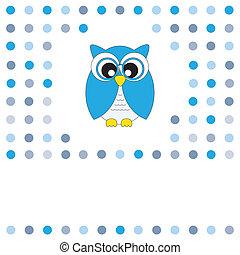 błękitny, sowa