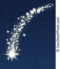 błękitny, spadająca gwiazda