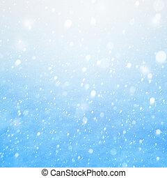 błękitny, spadanie, sztuka, śnieg, tło