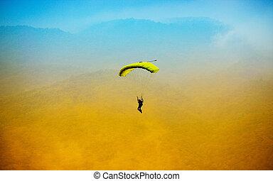 błękitny, spadochron, niebo, przeciw