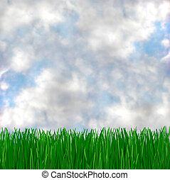 błękitny, spotyka, trawa, zielone niebo