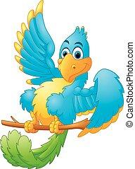 błękitny, sprytny, falować, ptak, rysunek