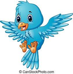 błękitny, sprytny, lecący ptaszek, rysunek