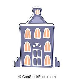błękitny, sprytny, miasto, konturowany, ilustracja, element, opowiadanie, szykowny, gmach, wróżka, rysunek, krajobraz