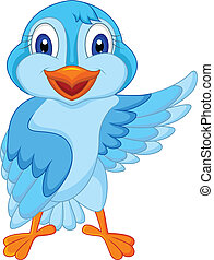 błękitny, sprytny, ptak, falować, rysunek