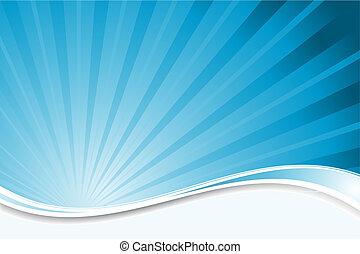 błękitny, starburst, tło