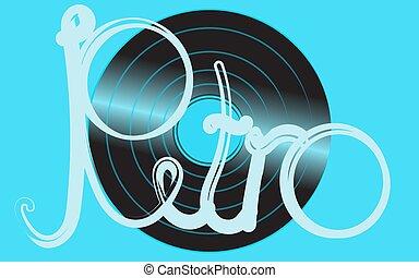 błękitny, starożytny stary, shimmering, napis, rocznik wina, ilustracja, muzyczny, rekord, winyl, wektor, hipster, tło., gramofon, analog, retro