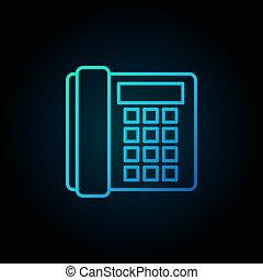błękitny, stary, -, telefon znaczą, telefon, wektor, landline, ikona