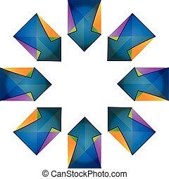 błękitny, strzały, wektor, fractal, logo