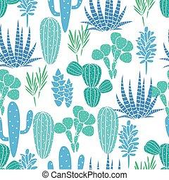 błękitny, succulents, roślina flora, budowla, pattern., seamless, wektor, zielony, kaktus, botaniczny, print.