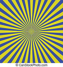 błękitny, sunburst, żółty