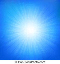 błękitny, sunburst, niebo
