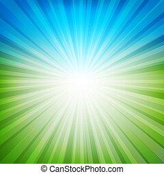 błękitny, sunburst, zielone tło